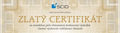 Zlatý certifikát spoleènosti Scio